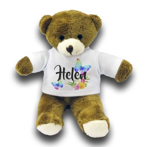 "Personalised Beautiful Butterflies & Flowers Novelty Gift 7"" Teddy Bear"